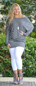 Sound The Alarm Striped Tunic Top - Charcoal