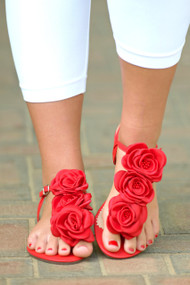 Love Is A Rose Sandals - Red