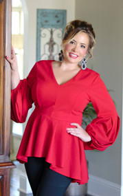 Nobody Like You High/Low Peplum Top - Red