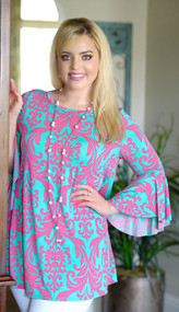 So Caught Up Damask Tunic Top - Mint