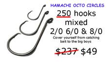 2/0 6/0 & 8/0 Hamachi Octo Circle Hooks - C/Sharp  3x Strong   250 PACK
