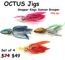 Hamachi Octus jigs 100 gram Fully rigged set of 4