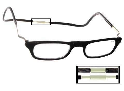 Clic Magnetic Reading Glasses XL Expandable Black