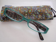 teal reading glasses with matching case