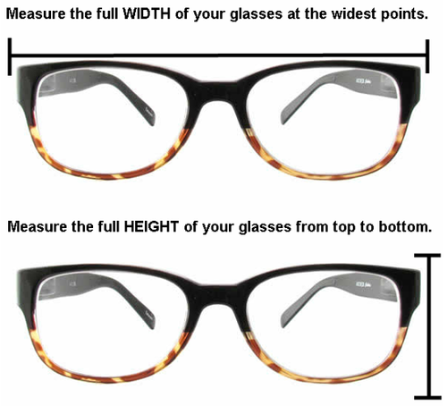 measure frame for fit over sunglasses