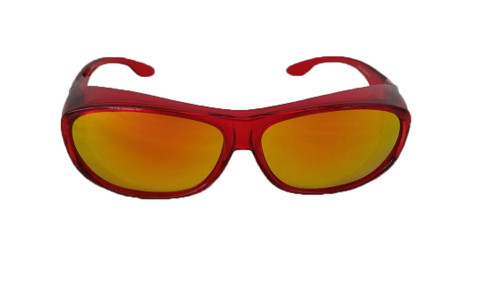 Polarized red fit over sunglasses mirrored lenses