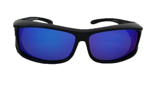 Polarized blue mirrored rectangular fit over sunglasses