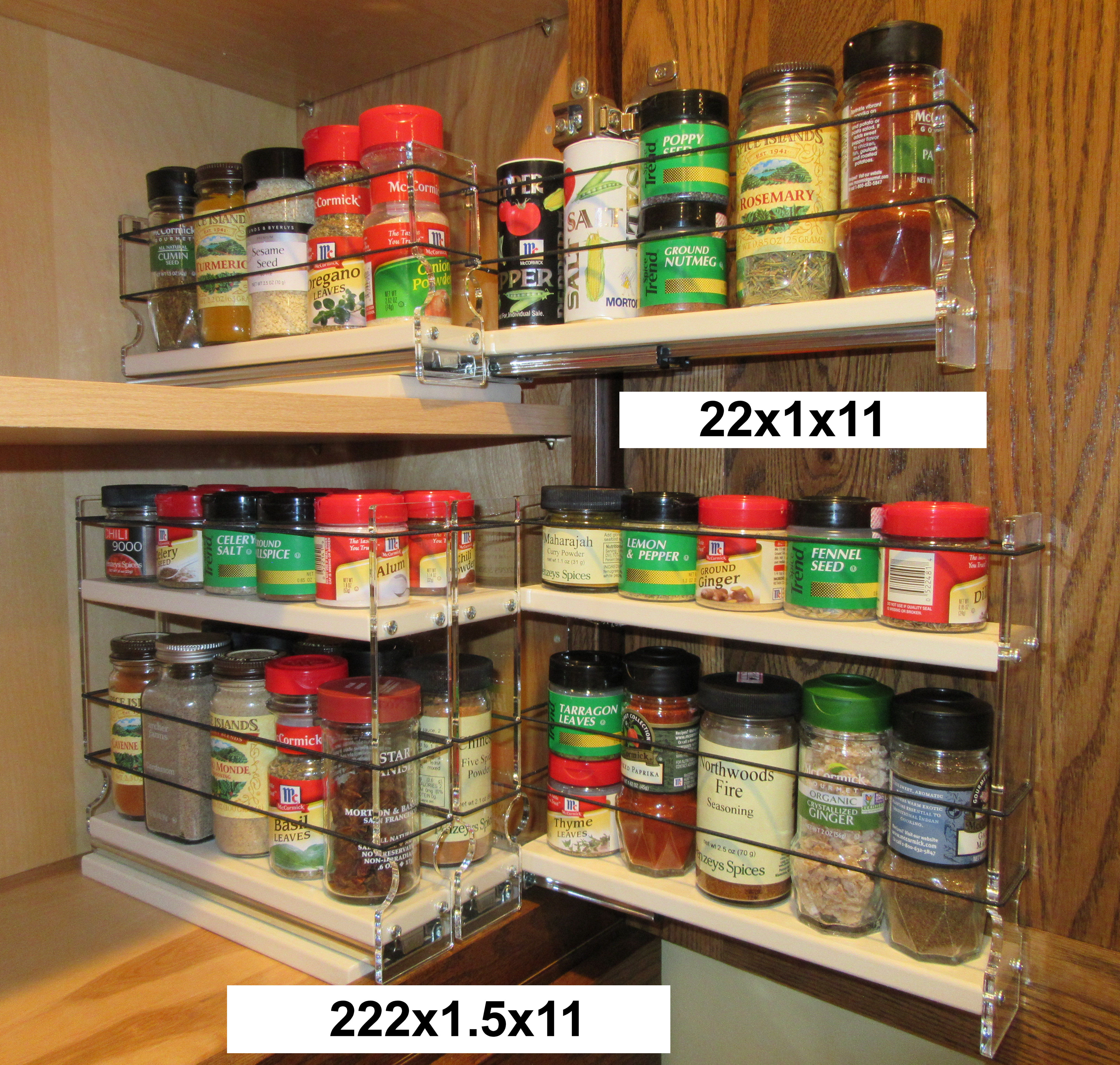 Good ... Two Cabinet Shelves Organized With Spice Racks