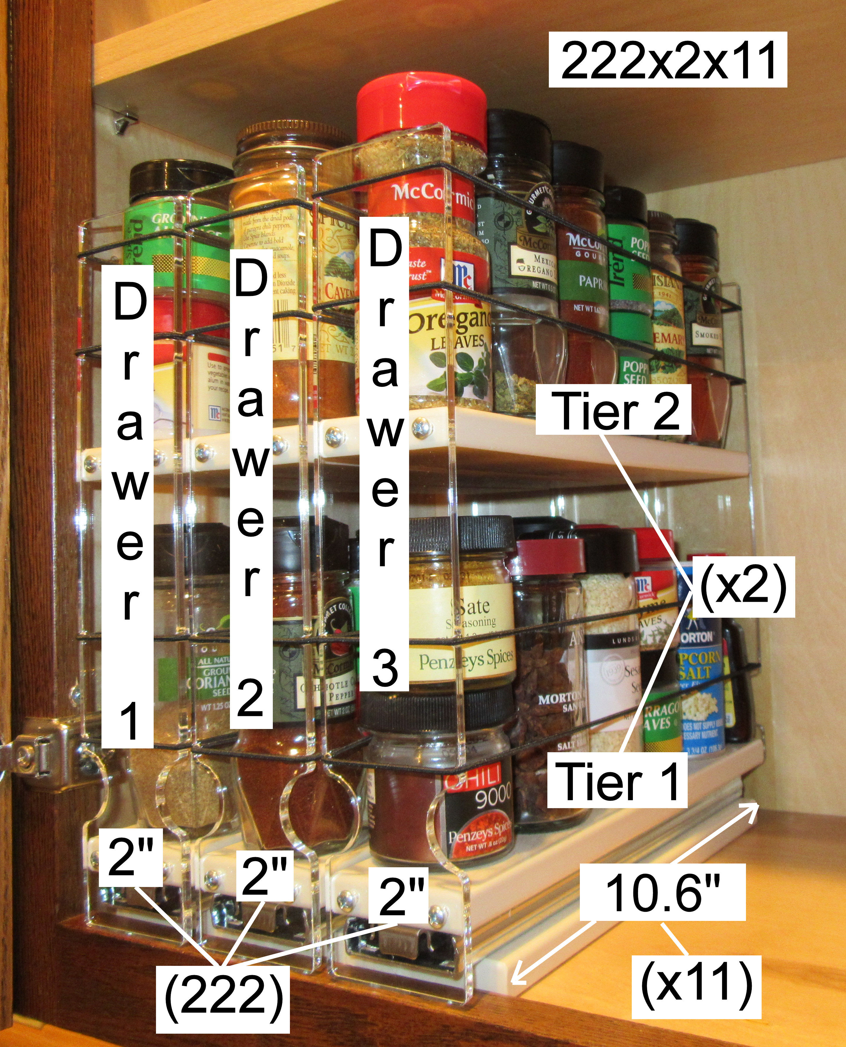 How the 222x2x11 Spice Rack is named