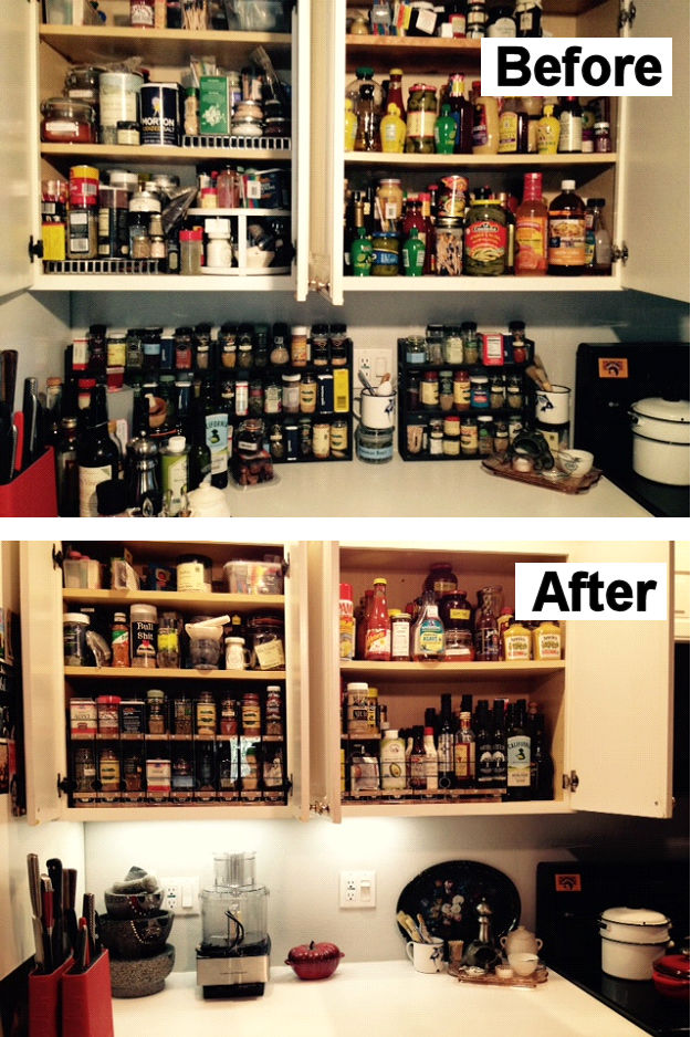 Before and After Spice Rack Installation