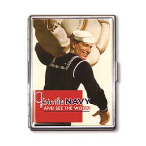 WWII Join the Navy See The World Cigarette Case