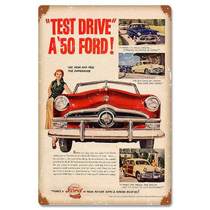 Ford 1950 Test Drive a Ford Metal Sign -