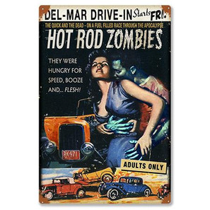Hot Rod Zombies Metal Sign -