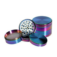 Black Leaf Oil Slick Aluminium Grinder 58mm - 4 part