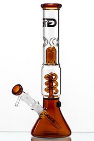 Grace Glass Amber Spiral Perc Beaker