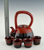 Teapot with 4 Cups in Red with Black