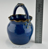 Small Round Fluted Pottery Basket in Midnight Blue - 30% Off
