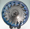 "Handmade Pottery Large Kaleidoscope Bowl 13"" in Blue Graphite Glaze"