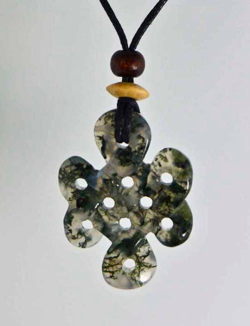 Celtic Knots Pendant Stone Jewelry - Moss Agate