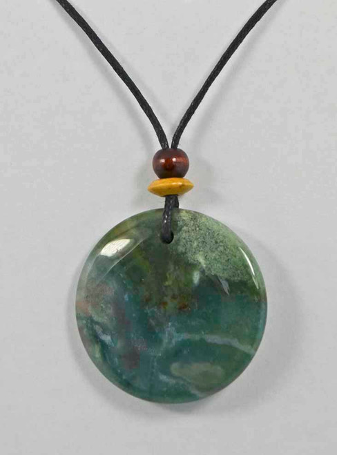 Rock Art Polished Stone Pendant Jewelry Round Moss Agate