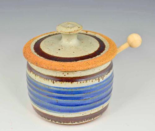 Handmade Pottery Honey Pot in Old Republic Glaze