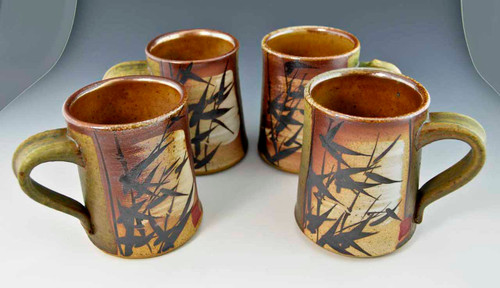 Set of 4 Hand-painted Asian Motif Tall Mugs with Green Panels 14 oz