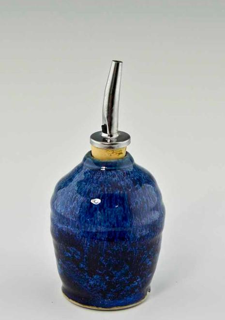 Handmade Pottery Oil Bottle in Deepwater Glaze
