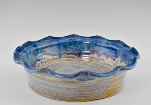 Handmade Pottery Fluted Pie Plate in Cocktail Glaze