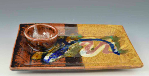 Handmade Pottery Sushi Plate w Attached Cup - gold