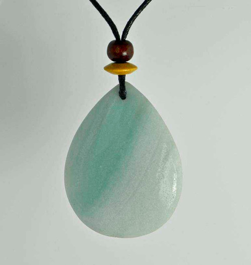 Rock Art Polished Stone Pendant Jewelry, Amazonite, Turquoise, Aqua