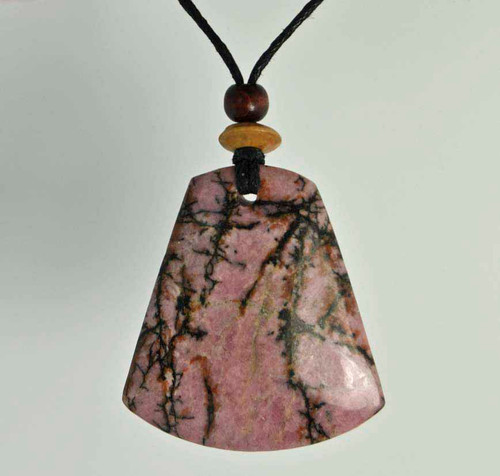 Rock Art Polished Stone Pendant Jewelry, Rhodonite, Black, Pink