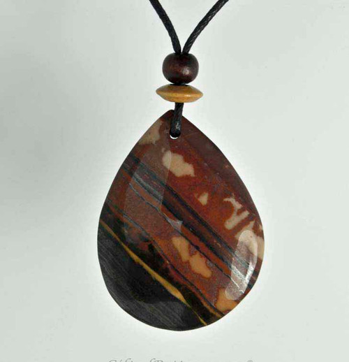 Rock Art Polished Stone Pendant Jewelry, Tiger Jasper, Brown, Black