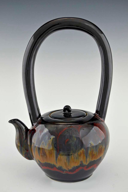 Long Handled Teapot with 4 Cups in Earth Spirit Glaze