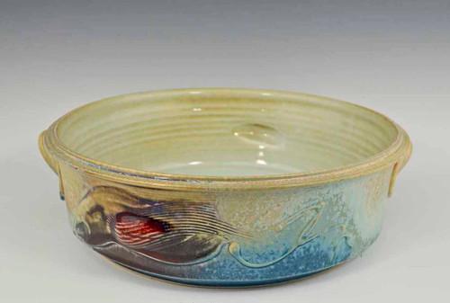 """Handmade Porcelain Open Casserole 10.75"""" in Blue Crystal Glaze"""
