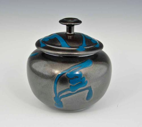 "Handmade 5.5"" Ginger Jar in Black and Blue"