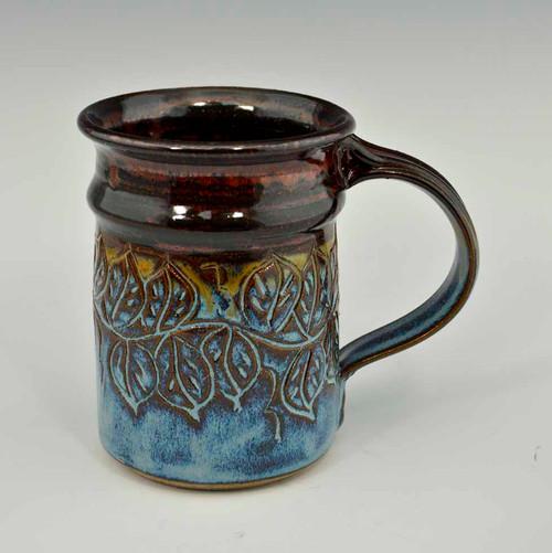 Carved Leaf Straight Mug Blue and Iron Red 12 oz