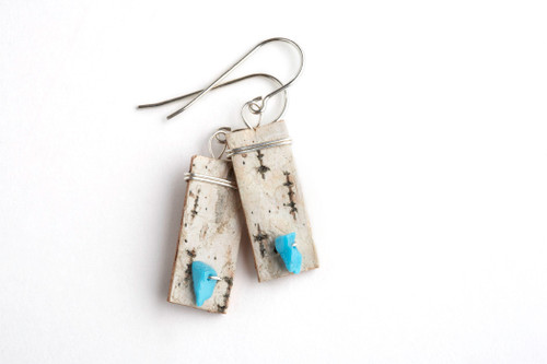 Tessoro Turquoise, Sterling Silver and Birchbark Earrings