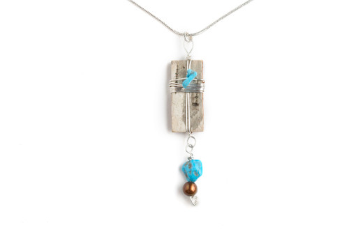 Turquoise, Sterling Silver and Birchbark 18 in. Necklace