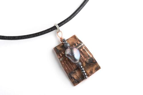 Tessoro Freshwater Pearl, Hematite and Birchbark 17 in. Necklace