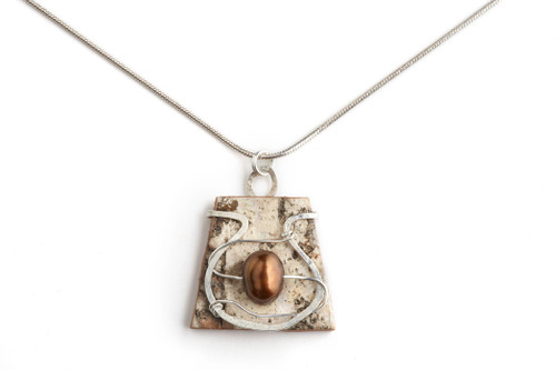 Tessoro Sterling Silver, Freshwater Pearl and Birchbark 18 in. Necklace