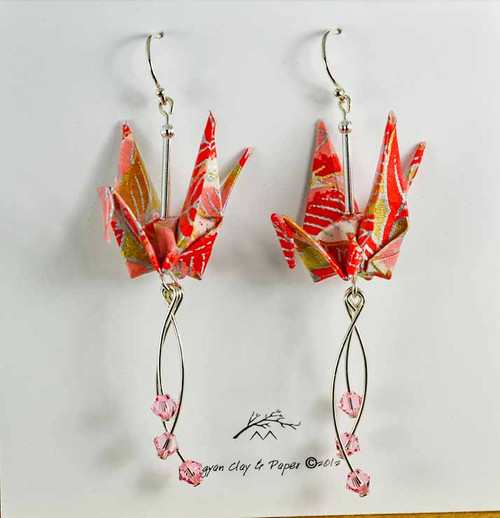 Red Silver Origami Crane Earrings with Swarovski Rose Crystals