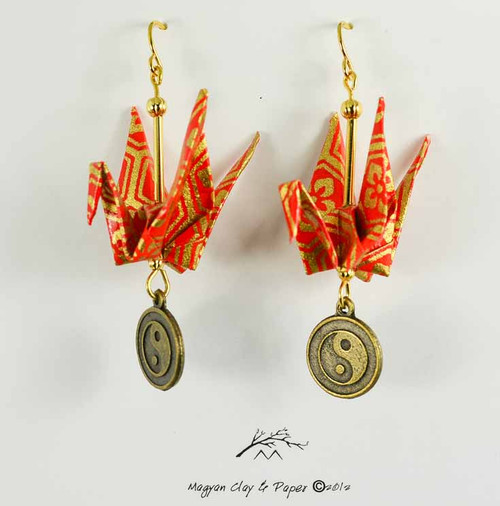 Red and Gold Origami Crane Earrings with Yin Yang Charm