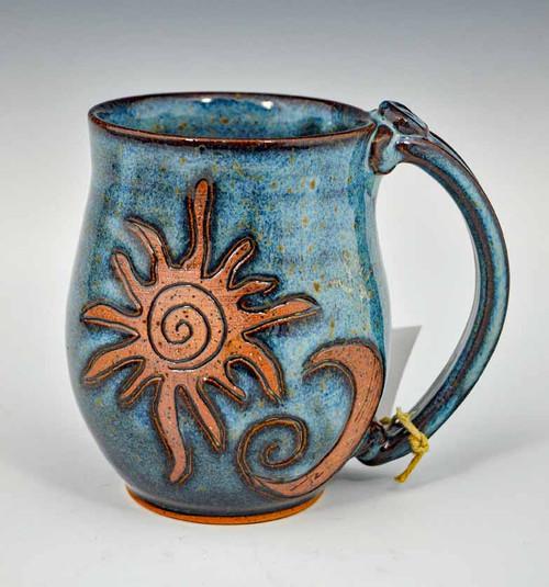 Handmade Pottery Mug with a Saying - Blue with Sun & Moon 14 oz
