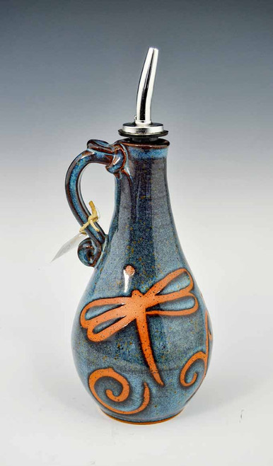Handmade Pottery Oil Decanter in Blue Dragonfly Design