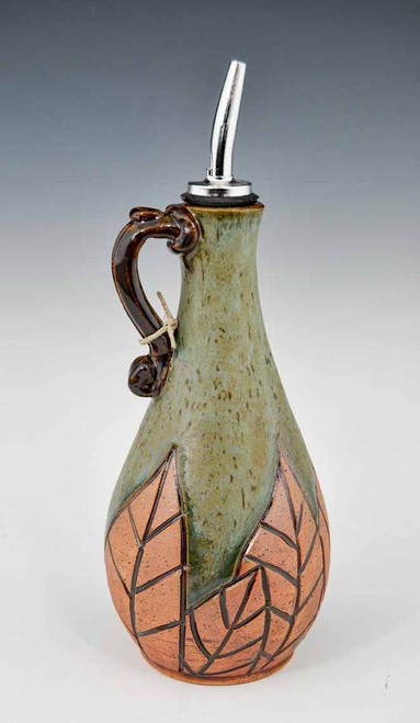 Handmade Pottery Oil Decanter in Gold Carved Design