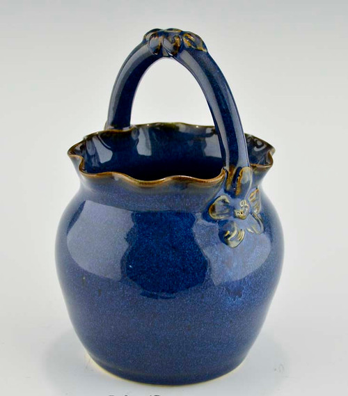Small Round Fluted Pottery Basket in Midnight Blue