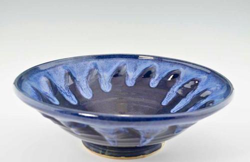 "Handmade Pottery Large Kaleidoscope Bowl 13"" in Deepwater Glaze"