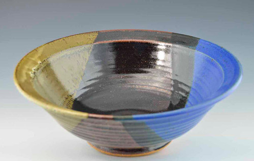 "Handmade Pottery Medium Bowl 11"" Storm Glaze"