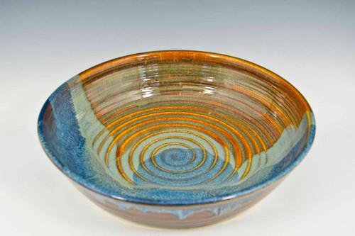 Stoneware Pottery Pasta Bowl in Ocean Blue Glaze
