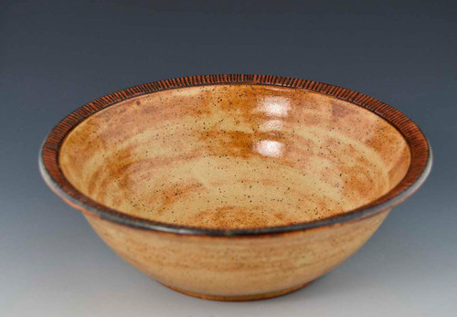 """Handmade Pottery 10.5"""" Serving Bowl in Straw Yellow"""